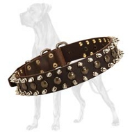 Quality Leather Great Dane Collar with Spikes and Studs