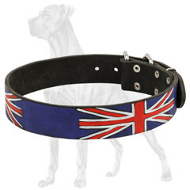 Gorgeous Union Jack Leather Great Dane Collar