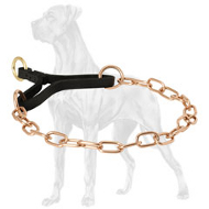 Curogan Martingale Collar with a Leather Part for Great Dane - 1/9 inch (3 mm)