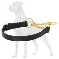 Adjustable Leather Martingale Collar with Brass Plated Chain for Great Dane - 1/6 inch (4 mm)