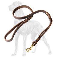Double Handle Leather Great Dane Leash - 3/4 inch on 5 FT