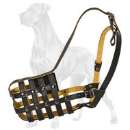Big Leather Basket Dog Muzzle for Great Dane Breed