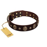 """Breaking the Horizon"" FDT Artisan Brown Leather Great Dane Collar with Engraved Studs and Medallions"