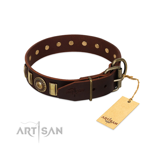Gentle to touch natural leather dog collar with embellishments
