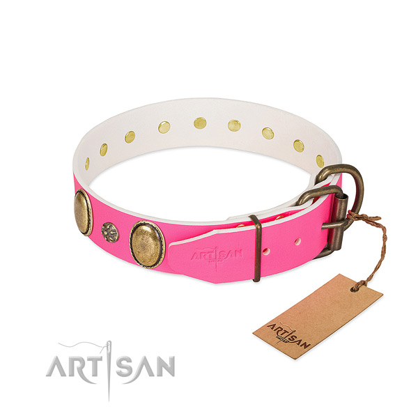Handy use flexible full grain natural leather dog collar with adornments
