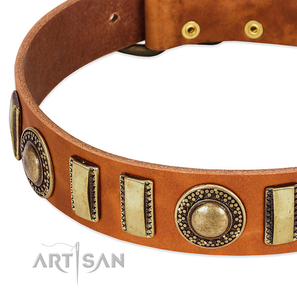 High quality full grain genuine leather dog collar with corrosion resistant D-ring