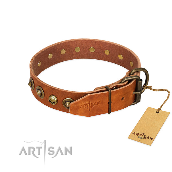 Genuine leather collar with remarkable decorations for your canine