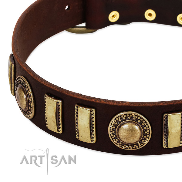 Best quality natural leather dog collar with durable hardware