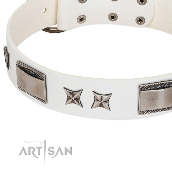 High quality full grain genuine leather dog collar with rust resistant buckle