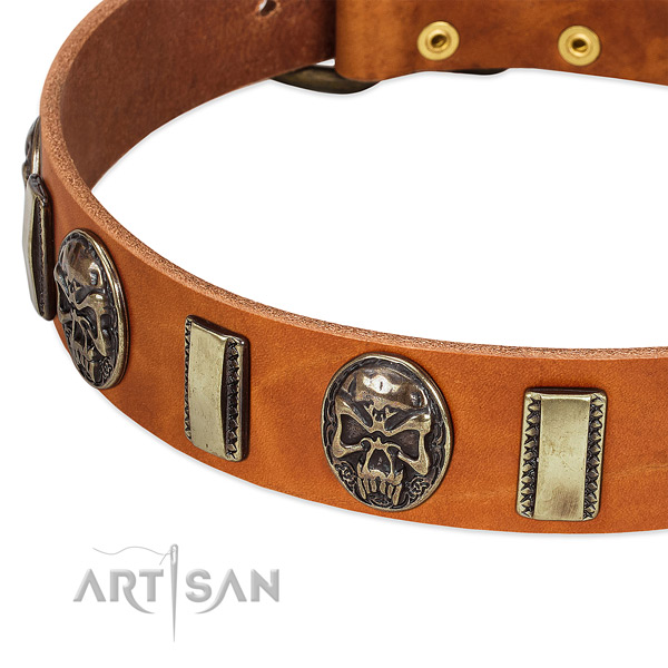 Rust resistant hardware on genuine leather dog collar for your canine