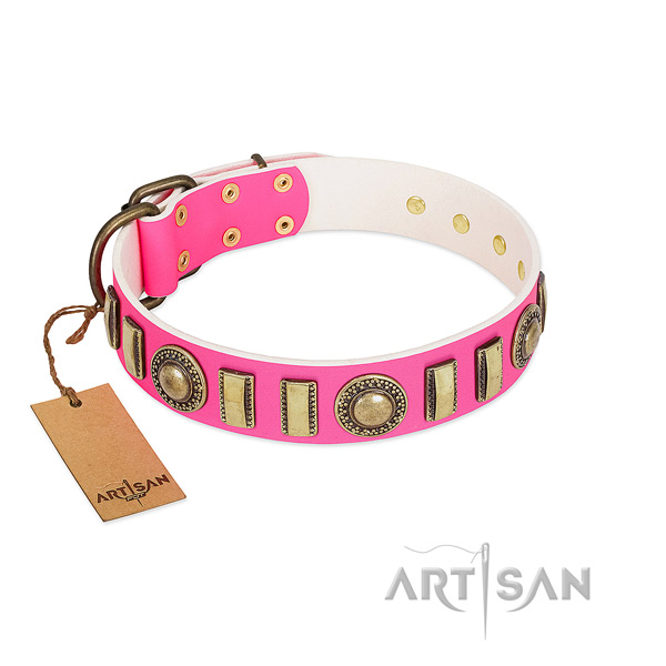 Trendy genuine leather dog collar with strong buckle