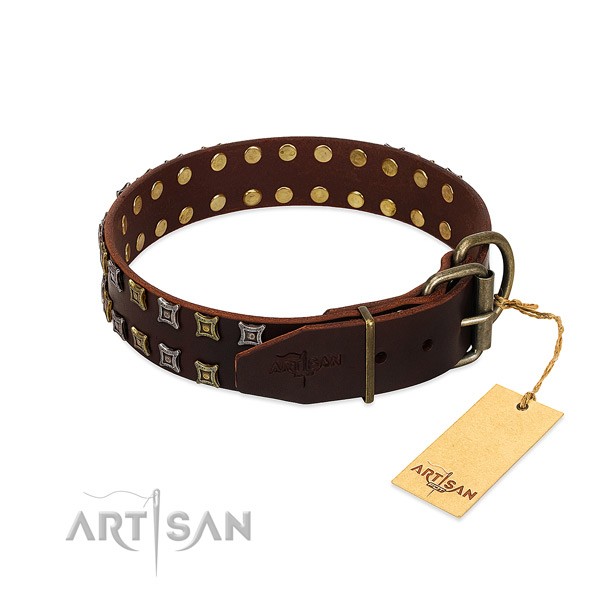 Quality full grain leather dog collar created for your doggie