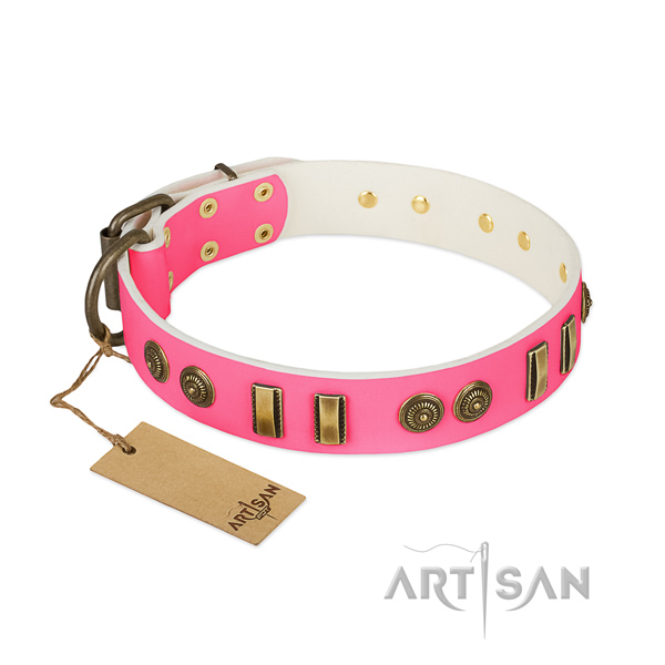 Convenient genuine leather collar for your pet