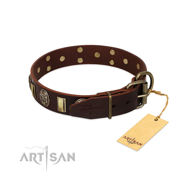 Leather dog collar with rust-proof fittings and adornments