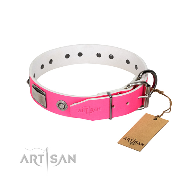 Easy adjustable genuine leather collar with decorations for your doggie