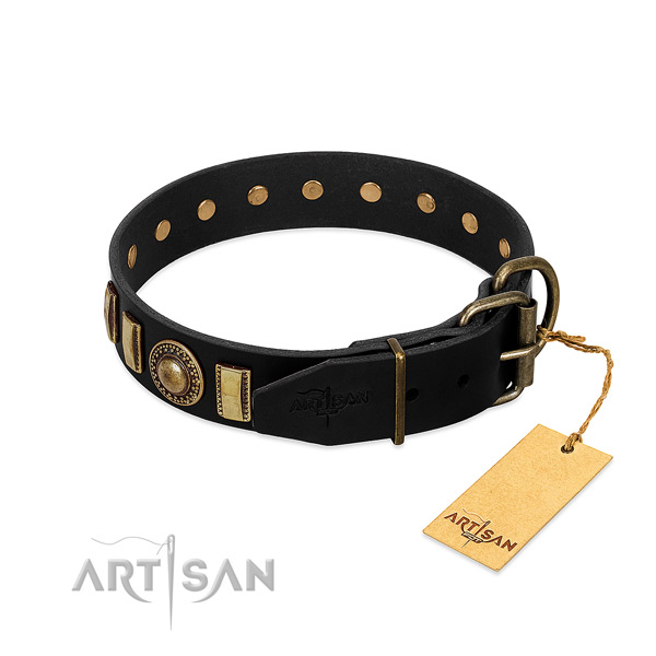 Best quality natural leather dog collar with decorations