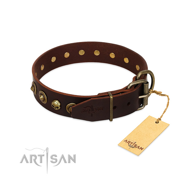Full grain genuine leather collar with exceptional decorations for your four-legged friend