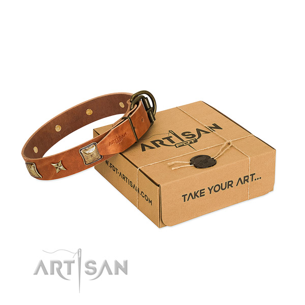 Adjustable natural genuine leather collar for your impressive pet