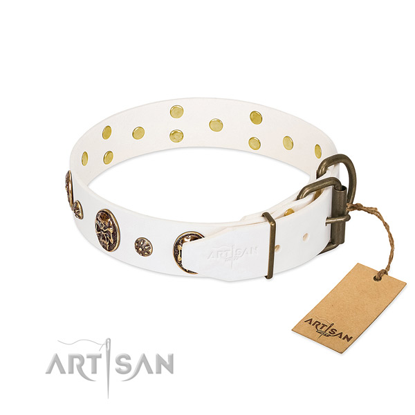 Rust resistant D-ring on full grain natural leather dog collar for your doggie