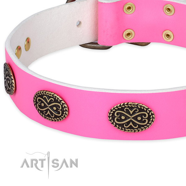 Leather dog collar with studs for easy wearing