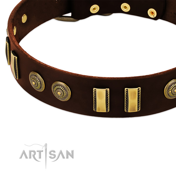 Rust resistant D-ring on genuine leather dog collar for your canine
