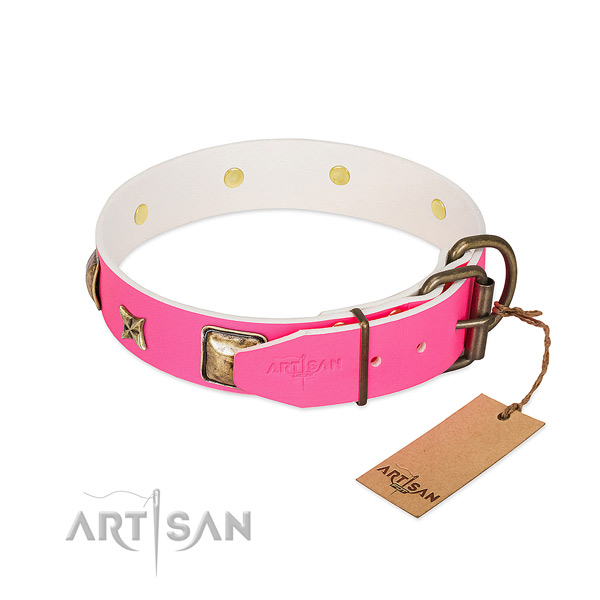 Corrosion proof buckle on full grain genuine leather collar for daily walking your doggie