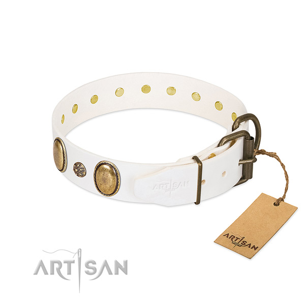 Comfortable wearing quality full grain leather dog collar