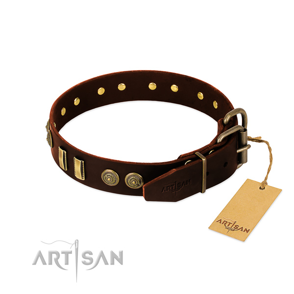 Strong buckle on genuine leather dog collar for your canine