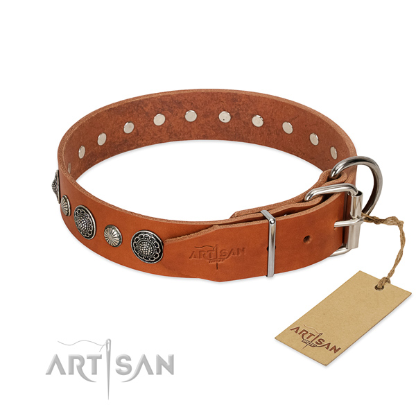 Soft to touch genuine leather dog collar with rust-proof D-ring