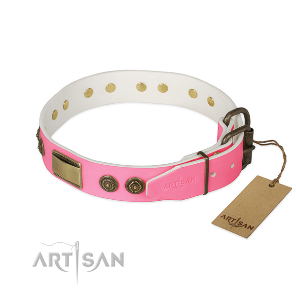 Corrosion proof adornments on comfortable wearing dog collar