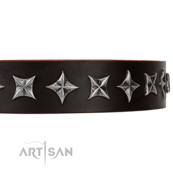 Comfortable wearing studded dog collar of top quality full grain genuine leather