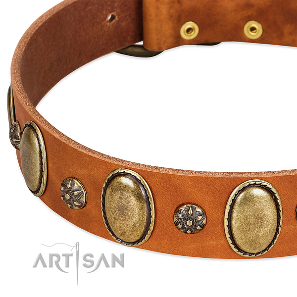 Comfy wearing soft full grain genuine leather dog collar