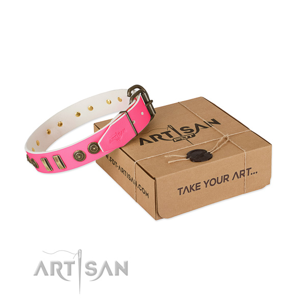 Strong embellishments on full grain leather dog collar for your doggie