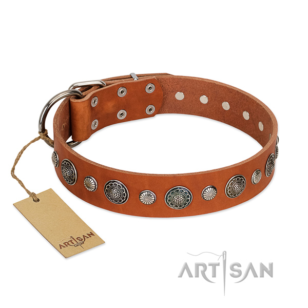 Durable natural leather dog collar with rust-proof hardware