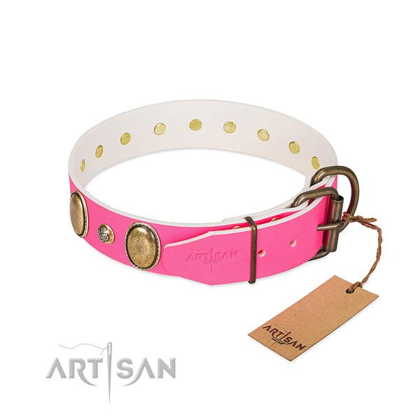 Comfy wearing gentle to touch leather dog collar