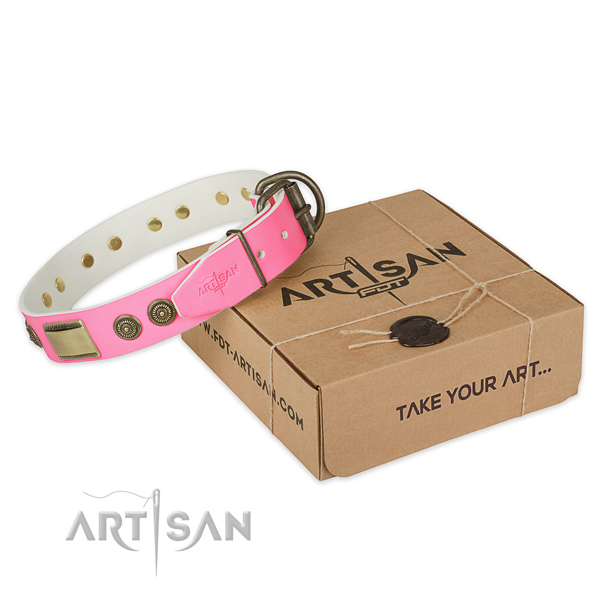 Corrosion resistant decorations on dog collar for handy use