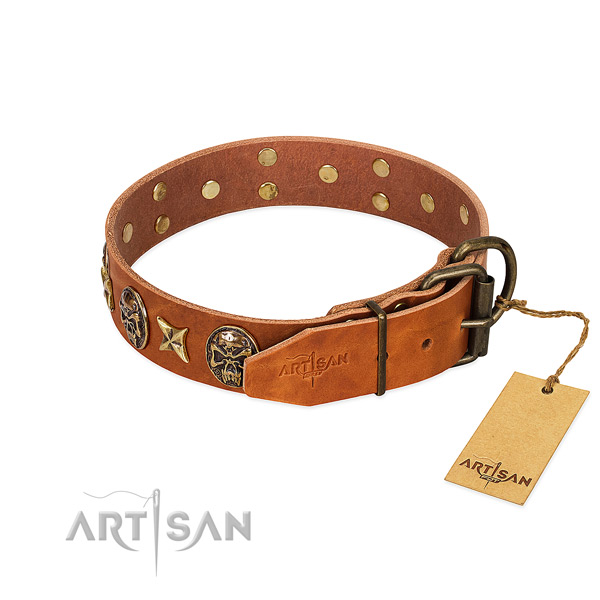 Genuine leather dog collar with strong traditional buckle and embellishments