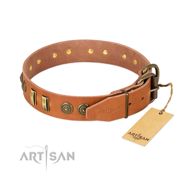 Reliable hardware on leather dog collar for your dog
