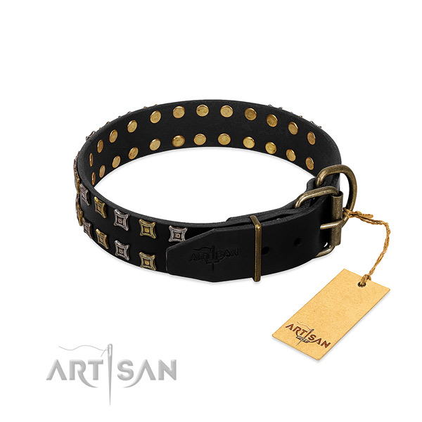 Best quality full grain genuine leather dog collar made for your doggie