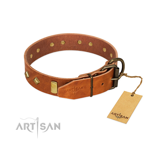 Daily use genuine leather dog collar with exquisite adornments