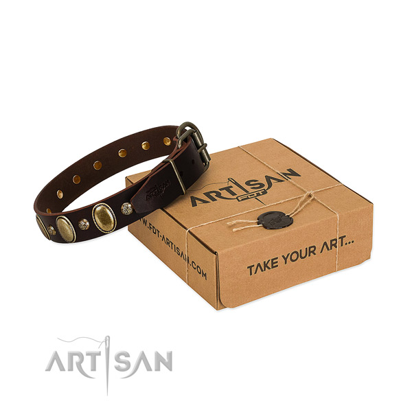 Top notch full grain natural leather dog collar with rust resistant hardware
