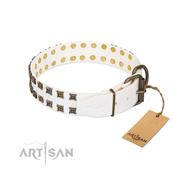 Reliable natural leather dog collar handcrafted for your pet