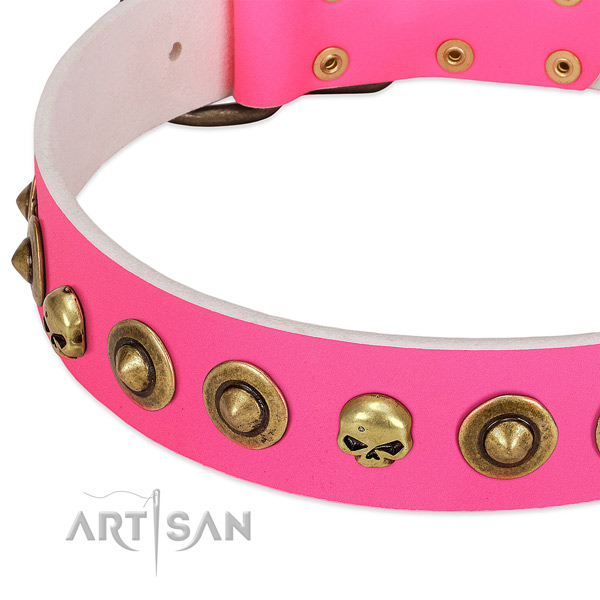 Incredible decorations on full grain natural leather collar for your pet
