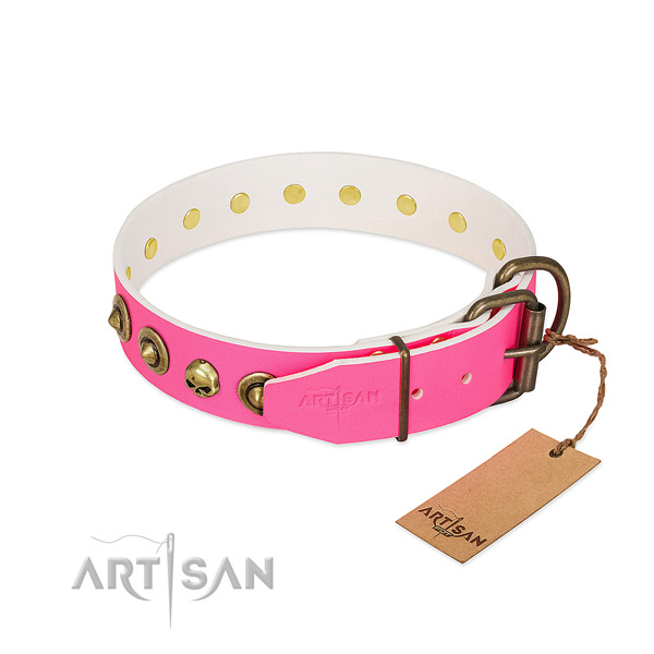 Full grain genuine leather collar with unique studs for your doggie