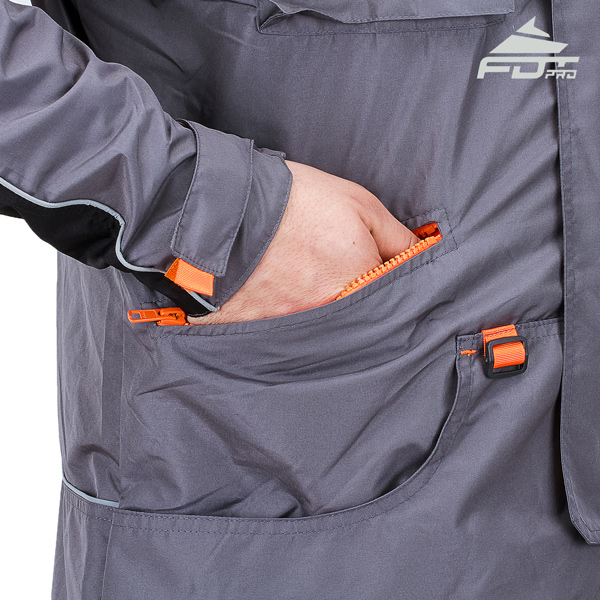 Grey Color FDT Pro Design Dog Tracking Jacket with Reliable Side Pockets