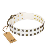 """Ice Peak"" FDT Artisan White Leather Great Dane Collar with Silvery and Goldish Decorations"