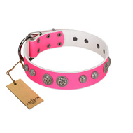 """Silver Drops"" Designer Handmade FDT Artisan Pink Leather Great Dane Collar"