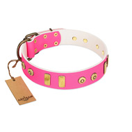 """Prim'N'Proper"" Handmade FDT Artisan Pink Leather Great Dane Collar with Old Bronze-like Dotted Studs and Tiles"
