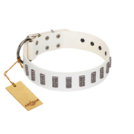 """Heaven's Gates"" Handmade FDT Artisan White Leather Great Dane Collar with Silver-Like Engraved Plates"