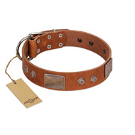 """Great Obelisk"" Handcrafted FDT Artisan Tan Leather Great Dane Collar with Large Plates and Pyramids"